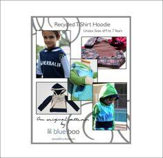 DIY PDF Pattern and Tutorial  Recycled TShirt Hoodie by lilblueboo