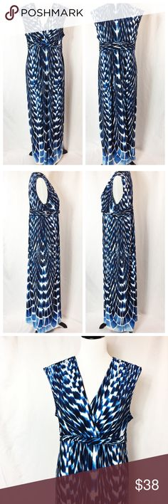 "Chicos Grecian Sleeveless Maxi Dress Size 2 12/14L This one is a stunner! Gorgeous sleeveless maxi dress with the most beautiful blue and white pattern - perfect for travel and warm vacation weather! Super comfortable and flattering.  Bust ~38"" laid flat Length 59""  95% Polyester 5% Spandex  Thank you for looking! Chico's Dresses Maxi"