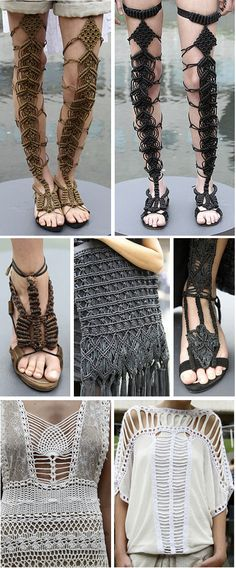 I want to learn macrame - Batman Clothing - Ideas of Batman Clothing - Malandrino macrame thigh high sandals. I want to learn macrame Macrame Design, Macrame Art, Macrame Projects, Macrame Knots, Macrame Jewelry, Catherine Malandrino, Thigh High Sandals, Macrame Dress, Spring Sandals