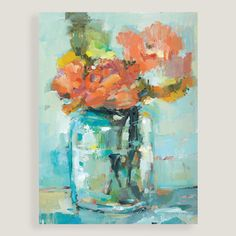 Bright coral-colored flowers lend a lively touch to the cool blue-green jar that contains them in this fresh, charming still life.