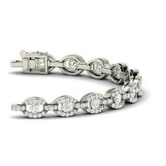 Round SI Diamond  Tennis Bracelets Bracelet in 14k White Gold