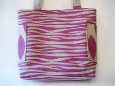 Fuschsia and Tan Tote by Nataty on Etsy, $37.99