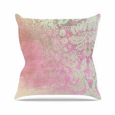 KESS InHouse EC3004AOP03 18 x 18-Inch 'Cafelab Spring Damask Pink White' Outdoor Throw Cushion - Multi-Colour ** For more information, visit image link. #GardenFurnitureandAccessories