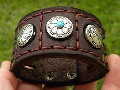 Punho de couro Indiano Nativo Navajo Pulseira Vintage Sterling Silver Turquesa