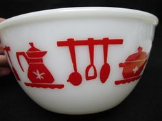 Vintage Hazel Atlas Milkglass Red and White Mixing Bowl Kitchen Utensils