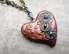 SALE Steampunk Heart Pendant Necklace Beaded Jewelry Repurposed Short Boho Copper