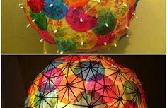 lampenschirme selber machen farbige coctailschirme sphäre kreative bastelideen