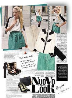 """KAYTURE: CHAIN AND GREEN SKIRT"" by aanyaa on Polyvore"