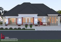 #Architecture #Nigerianbuildingdesigns #MastersTouchStudios #Homes #Bungalow #House #Nigeria #Beautiful #Design #Exterior #Modern #HouseDesign #HomeDecor #HouseStyles #HouseExterior             4 Bedroom bungalow design     Minimum size of land is 100ft by 100ft.     Contact +2348032582385, +2348174058017 (Calls and Whatsapp) E mail: Masterstouchstudios1@gmail.com Modern Bungalow House, Bungalow Homes, Bungalow Designs, Dream House Exterior, Dream House Plans, Door Design, Exterior Design, Exterior Colors, 4 Bedroom House Designs