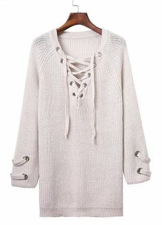 Lace up Sweater Oversized Material: Cotton,Spandex One size fits-6-10