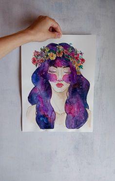 Corona y galaxia  Acuarela y tinta sobre papel por RaquelBIlustra