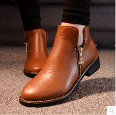 2014 otoño invierno botas de mujer botines planos laterales con cremallera talón botas Martin botas mujer zapatos planos de la marca NX35 4