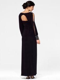 Black Crystal-Cuff Gown