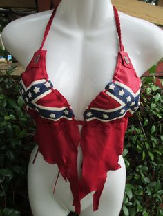 Confederate Rebel Flag Deerskin Leather Bikini Top