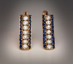 Art Deco Vintage Sapphire and DiamondGold Earringscirca 1915of a slightly flattened, long hexagonal prism shapeset with 14 old cut bright white diamonds with an approximate total weight of 0.80 ctand 36 natural blue sapphires with an approximate total weight of 1.44 ct.Handcrafted in yellow and rose 14K gold.Height - 23 mm (7/8 in.)