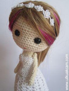 Crochet Wedding gown for Deniz Doll  by Denizmum. (Pattern avaiable to buy).