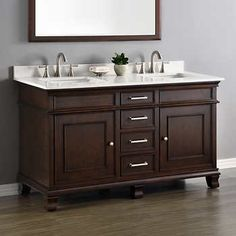 Contemporary 60 Inch Double Sink Bathroom Vanity Mahogany Finish No Top |  Master Bathroom | Pinterest | Bathroom, Vanity And Double Sink Bathroom