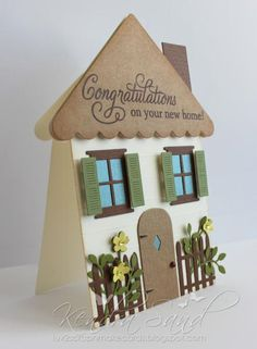 This clever house-shaped card will welcome those new neighbors in style! It is completely decked out with windows, door, shutters, fencing and flowers.(cut card like a roof) good idea House Shaped Card - Top Dog Dies; Our Home Album Die, Ho New Home Cards, House Of Cards, Welcome Home Cards, Cute Cards, Diy Cards, Housewarming Card, Window Cards, Shaped Cards, Cricut Cards