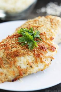 Garlic Parmesan Chicken Recipe ~ Savory baked garlic chicken topped with parmesan cheese!