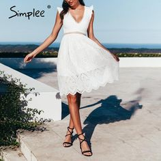 Simplee Sexy white women summer dress 2019 Backless v neck ruffle cotton lace dress Vintage holiday beach short female vestidos Lace Ruffle, Cotton Lace, Lace Dress, Cotton Style, Club Dresses, Sexy Dresses, Vintage Dresses, Cheap Dresses, Casual Dresses