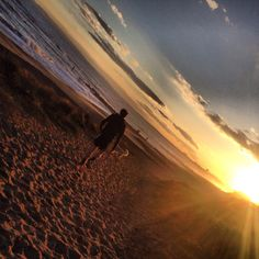 Walking Ella into the sunset. Solent Beach.