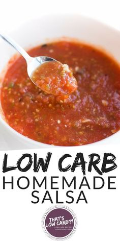 Low Carb Salsa is possible when you make it at home with just 5 simple and healthy ingredients! Carbs in homemade salsa is much lower than when you purchase it in store – so make it at home! Low Carb Salsa is possible when you make it at home with just … Low Carb Salsa Recipe, Healthy Low Carb Recipes, Low Carb Dinner Recipes, Low Carb Keto, Keto Recipes, Healthy Meals, Soup Recipes, Hamburgers, Hummus
