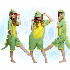 Green Yellow Dinosaur Pattern Cotton Kigurumi Cosplay Costume