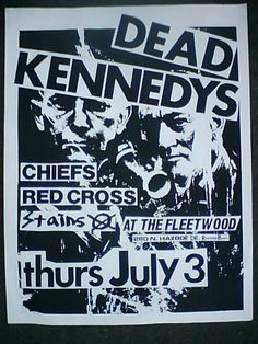 DEAD KENNEDYS, STAINS, RED CROSS, CHIEFS / ORIGINAL GIG FLYER / LA / 1980 / kbd