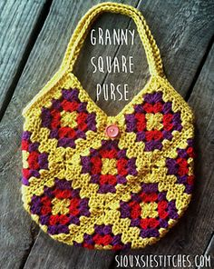 """A basic """"recipe"""" for crocheting a granny square purse using 13 granny squares. Simple, fast, and satisfying…a perfect summer project!"""