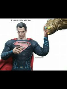 He literally can. So long as none of the stones has any traces of kryptonite. Otherwise with his photonucleic effect which stores solar radiation in his cells, he could fight Thanos endlessly and without loss of stamina. Marvel Funny, Marvel Dc Comics, Marvel Heroes, Funny Comics, Marvel Avengers, Captain Marvel, Marvel Movies, Batman Vs Superman, Hulk Spiderman