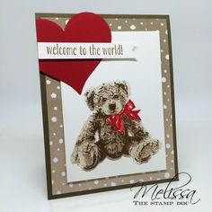 Baby Bear stamp set, Sweet & Sassy Framelits heart, and Serene Scenery DSP; crumb cake (stamped off for 1st layer), soft suede