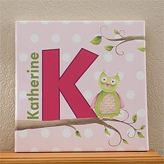 "Personalized Kids Canvas Name Art - Owl About You - from PersonalizationMall. They have a bunch of gifts with this adorable ""Owl about you design"" that are perfect for a little girl's room or baby's nursery! You can personalize this canvas print with their name and initial - it would look so pretty on their bedroom walls! It's on sale now for only $24.70 at PMall! #Owl"