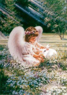 Dona Gelsinger - angel and rabbit (600×850)