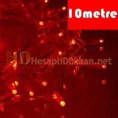 10 metre şeffaf kablo kırmızı led yılbaşı ışığı R639   Kaliteli ürünler uygun fiyat