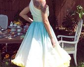"""One Shoulder Aqua Ombre """"Siren"""" Dress Tea Length ------------- Color can be customized ------ made to measure. $495.00, via Etsy."""