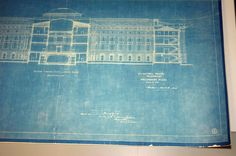 Blueprint of the U.S. National Museum (Now the Arts & Industries building. Click to enlarge.), 1904, by Hornblower and Marshall, Smithsonian Institution Archives, RU92, Survey 4 , Photograph courtesy of Anna R. Friedman.