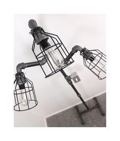 Industrial Floor lamp Steampunk Black pipe lamp by HanorManor