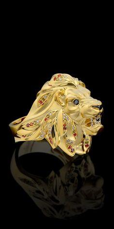 Jóias para homens- 750 ouro amarelo, diamantes, diamantes negros, diamantes cognac, diamantes, safiras amarelas alaranjadas.