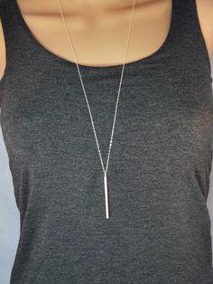 Long silver bar necklace, Skinny bar layering necklace, Skinny bar necklace, Long silver pendant necklace, Long vertical bar necklace SN88 by SparrowsTrove on Etsy https://www.etsy.com/listing/242677216/long-silver-bar-necklace-skinny-bar