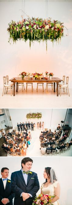 Jamie and John | Garden loft Jewish wedding with an amazing suspended floral chuppah at Open Secret Studios, Illinois, Chicago, USA