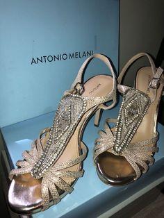 dd83ed334 antonio melani dress sandal WMN SZ 10M tan w gold and crystal beading Worn  once