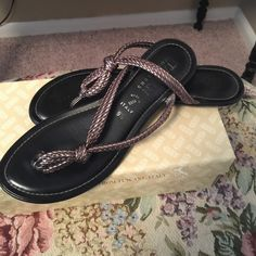 Ladies Pewter Sandals Size 9.5 Pewter Italian Shoemakers sandals. Style Nikki. Size 9.5. Italian Shoemakers Shoes Sandals