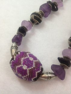 Cool Purple and Black Resin Bead Necklace by BeadingBeeCreations, $39.50