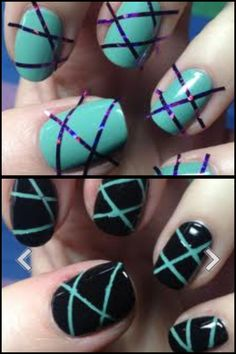 Stripping tape and nail polish to make this design