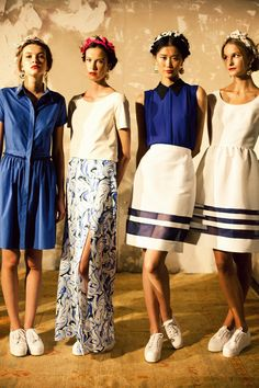 Blue and white outfits from Misha Nonoo.