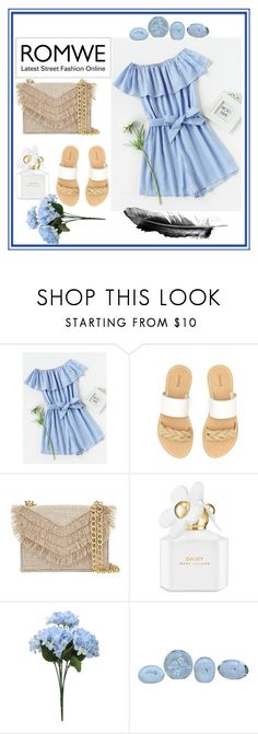 """""""Romwe"""" by lexikth ❤ liked on Polyvore featuring Soludos, Cynthia Rowley, Marc Jacobs, Alfredo Barbini, StreetStyle, white, Blue, stripes and summerstyle"""
