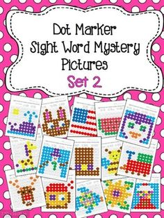 This is a set of 30 fun worksheets for young students to practice/review sight words. Each worksheet focuses on 6-8 sight words for the students to recognize and color in with Do-a-Dot markers or Bingo Daubers to reveal the hidden picture.    *Sight words are from the Dolch Word List (Pre-primer, Primer, and First)   Great for a literacy center! You could also use little pom poms or plastic colored discs to make the pictures over and over again. $