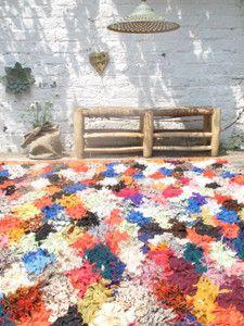 Vintage rug  Tapis Boucherouite Arlequin chatoyant