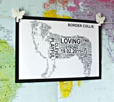 Border Collie,Collie, Poodle and Dachshund Personalised Word Art. FREE UK P&P. - pinned by pin4etsy.com