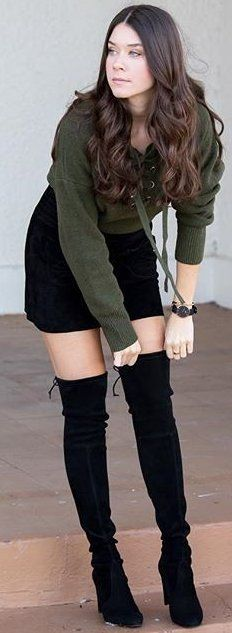 #fall #trending #street #outfits | Army Green + Black
